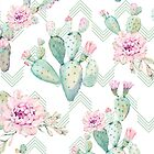 Pretty Succulents Pink and Green Desert Succulent Arrows Illustration by DesertDecor