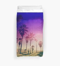 Colorful Palm Trees on a Beach Duvet Cover