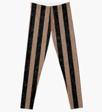 STRIPES1 BLACK MARBLE AND BROWN COLORED PENCIL Leggings