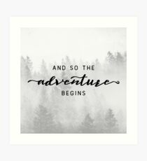 And So The Adventure Begins - Foggy Trees Forest Wall Decor Art Print