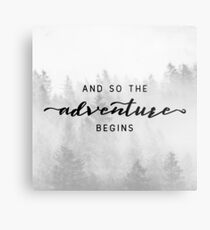 And So The Adventure Begins - Foggy Trees Forest Wall Decor Metal Print