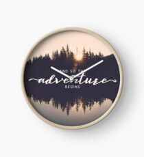 And So The Adventure Begins - Woods Trees Forest Wall Decor Clock