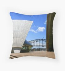 Part of Sydney Opera House framing the Harbor Bridge Throw Pillow