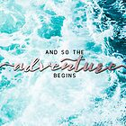 And So The Adventure Begins - Perfect Sea Waves Turquoise Rosegold by artcascadia