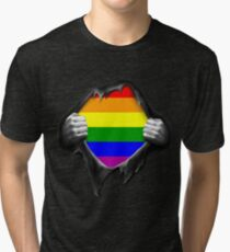 Premium Gay Pride Rainbow Shirt Tri-blend T-Shirt