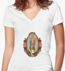 Lucha Guadalupe Women's Fitted V-Neck T-Shirt
