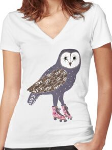 I skate OWL night long Women's Fitted V-Neck T-Shirt