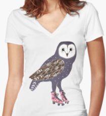 Ich skate OWL Nacht lang Shirt mit V-Ausschnitt