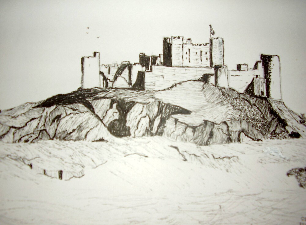 Bamburgh Castle From the beach by GEORGE SANDERSON
