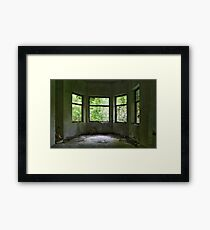 Green curtains Framed Print