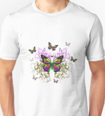 Bright Colorful Butterflies with Floral Swirls Unisex T-Shirt