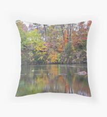 Gorgeous Autumn Scene Reflecting on Pond with Goose Throw Pillow