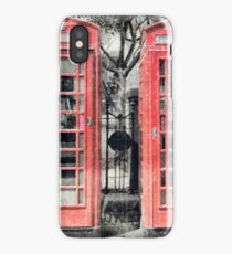 Four Red Telephone Boxes iPhone Case/Skin