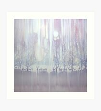 Cradle of Life - a white painting with deer Art Print