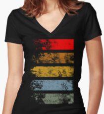 Grunge Strips Women's Fitted V-Neck T-Shirt