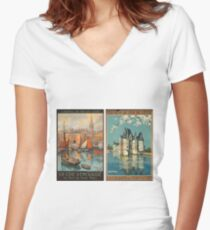 Vintage Travel Poster – French National Railway Women's Fitted V-Neck T-Shirt