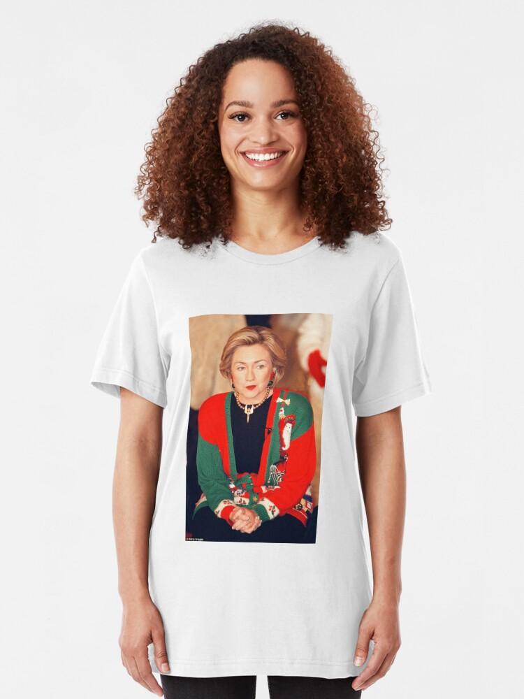 Vista alternativa de Camiseta ajustada Jersey de Navidad de Hillary Clinton