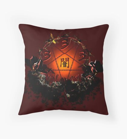 333 - half evil Throw Pillow