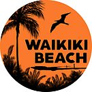 WAIKIKI BEACH HAWAII SUNSET OCEAN SURFING SURF VINTAGE OLD SCHOOLS 70'S by MyHandmadeSigns