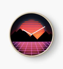 """80s Retro Grid & Rising Sun - """"Event Horizon"""" Clock"""