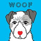 LOVEABLE JACK RUSSELL DOG DESIGN IN BLUE by Kat Pearson