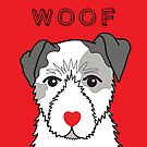 LOVEABLE JACK RUSSELL DOG DESIGN IN RED by Kat Pearson