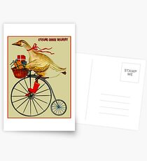 CYCLING GOOSE DELIVERY : Abstract Advertising Print Postcards