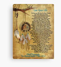 """Live Your Life"",Chief Tecumseh watercolor effect Metal Print"
