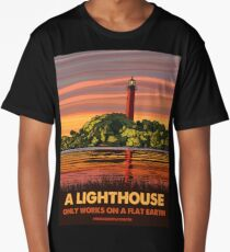 Flat Earth Designs - A Lighthouse Only Works on a Flat Earth Long T-Shirt