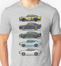 Stack of Mazda Savanna GT RX-3 Coupes T-Shirt