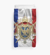 Greater Coat of Arms of the First French Empire over Flag of France Duvet Cover