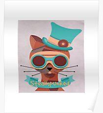 Cat googles, glasses, top hat, steampunk Poster