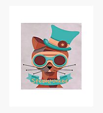 Cat googles, glasses, top hat, steampunk Photographic Print