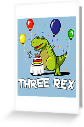 Three Rex 3rd Birthday Party Cartoon T Dinosaur By Nikolay Todorov