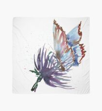 Watercolor Butterfly on Purple Thistle Flower Scarf