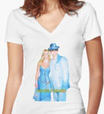 """Britney X Justin DENIM """"Never Forget"""" Women's Fitted V-Neck T-Shirt"""