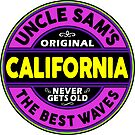 SURFING CALIFORNIA SURFBOARD STICKERS SURF SURFER UNCLE SAM'S WAX by MyHandmadeSigns