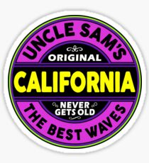 SURFING CALIFORNIA SURFBOARD STICKERS SURF SURFER UNCLE SAM'S WAX Sticker