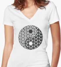 Flower of Life Space Time Yin Yang Women's Fitted V-Neck T-Shirt