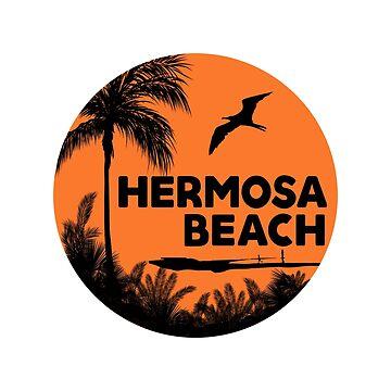HERMOSA BEACH CALIFORNIA SURF OCEAN SURFING SURFER SURFBOARD STICKERS by MyHandmadeSigns