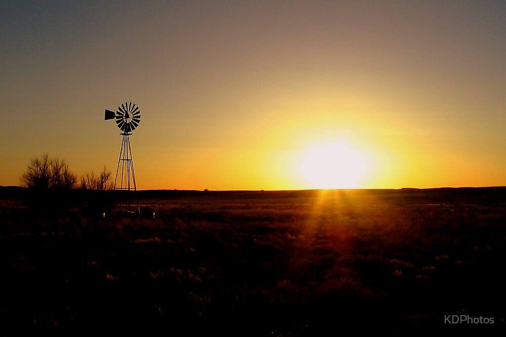 Windmill at Sunset by KDPhotos