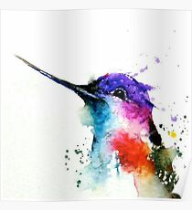 Watercolor lovely hummingbird  Poster