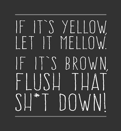 Quot If It S Yellow Let It Mellow If It S Brown Flush That
