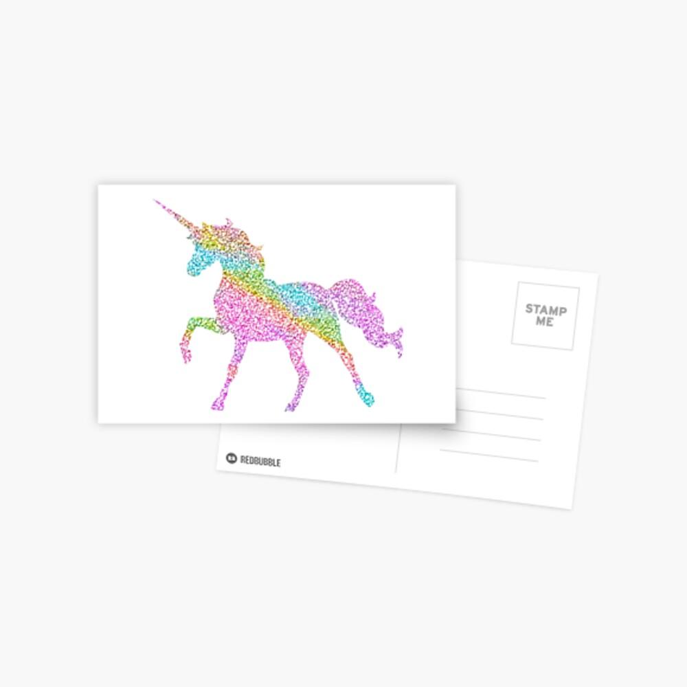 Sparkly Regenbogen Einhorn Postkarte