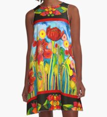 Red Poppies #3 with Mestizo Border Belize A-Line Dress