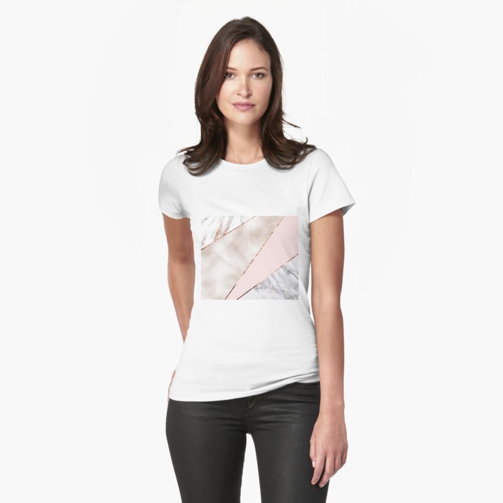 Gespleisst gemischter Roségoldmarmor Tailliertes T-Shirt