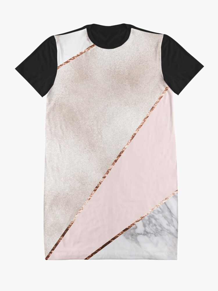 Alternate view of Spliced mixed rose gold marble Graphic T-Shirt Dress