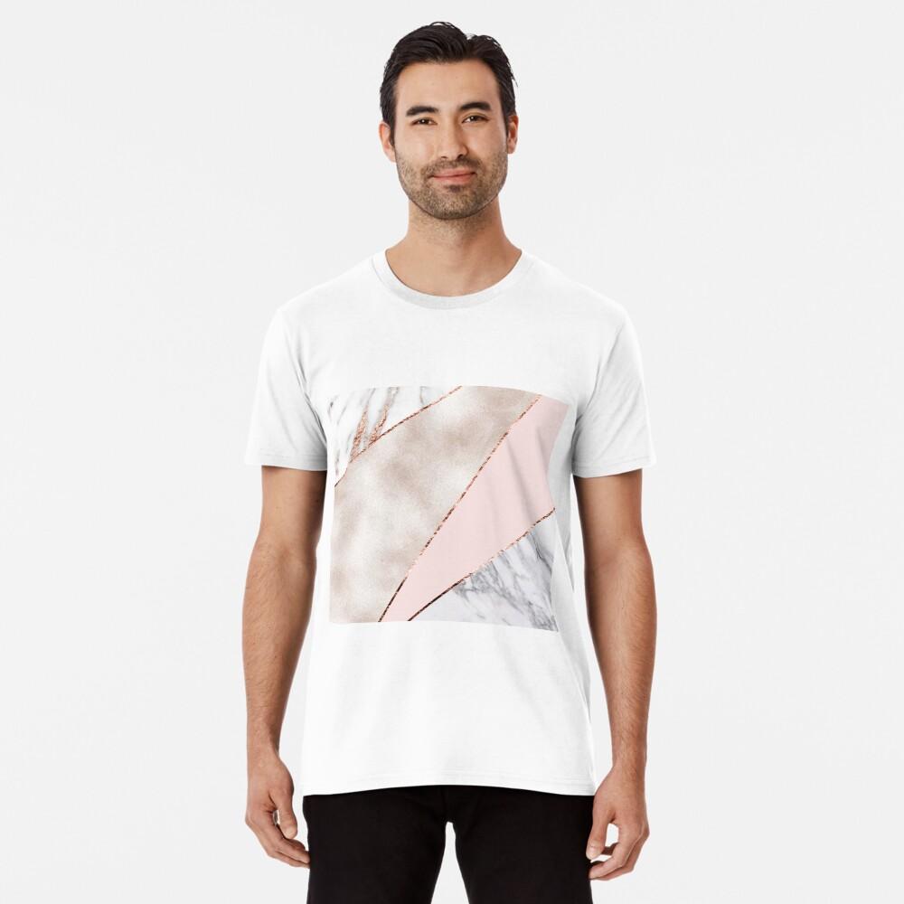 Gespleisst gemischter Roségoldmarmor Premium T-Shirt