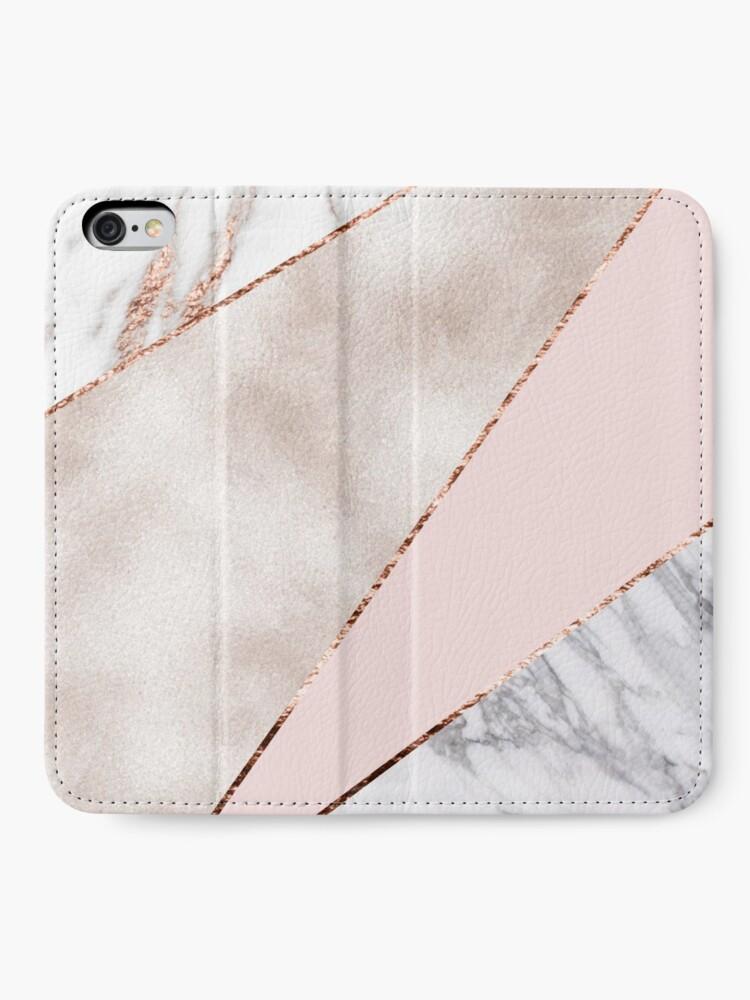 Alternative Ansicht von Gespleisst gemischter Roségoldmarmor iPhone Flip-Case