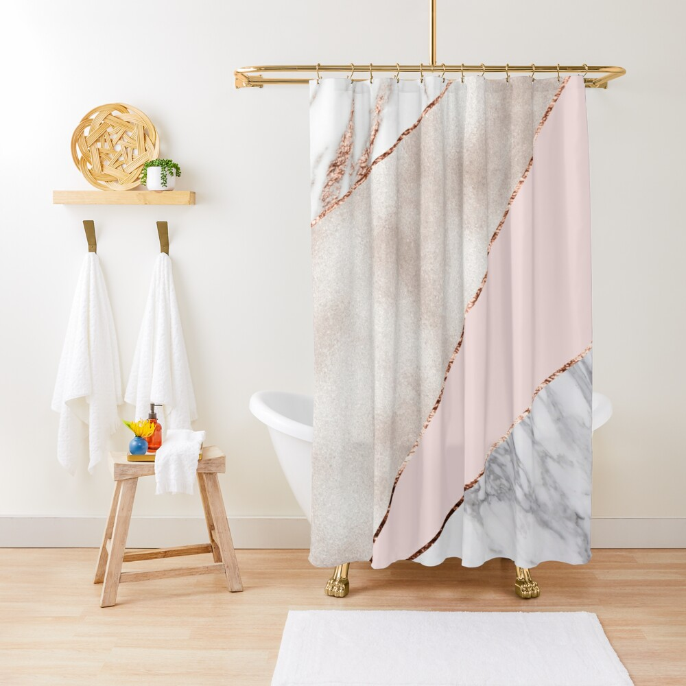 Spliced mixed rose gold marble Shower Curtain
